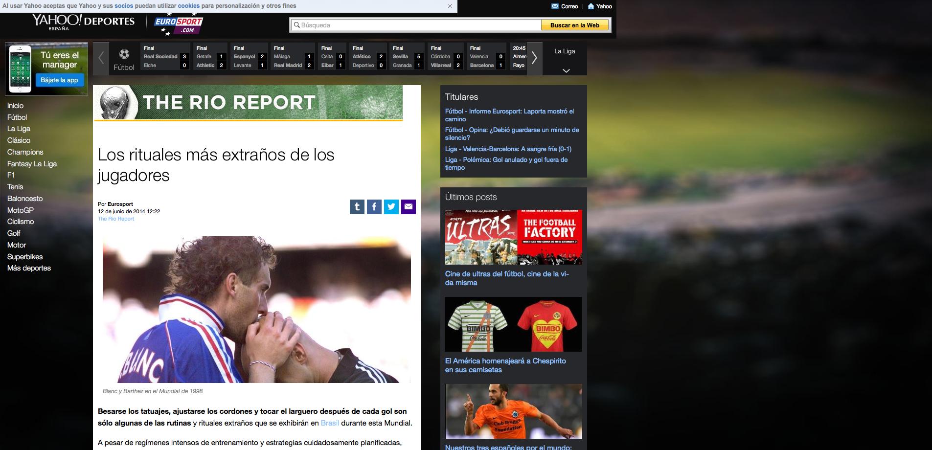 Lee 'Los rituales más extraños de los jugadores' en Yahoo Eurosport ES