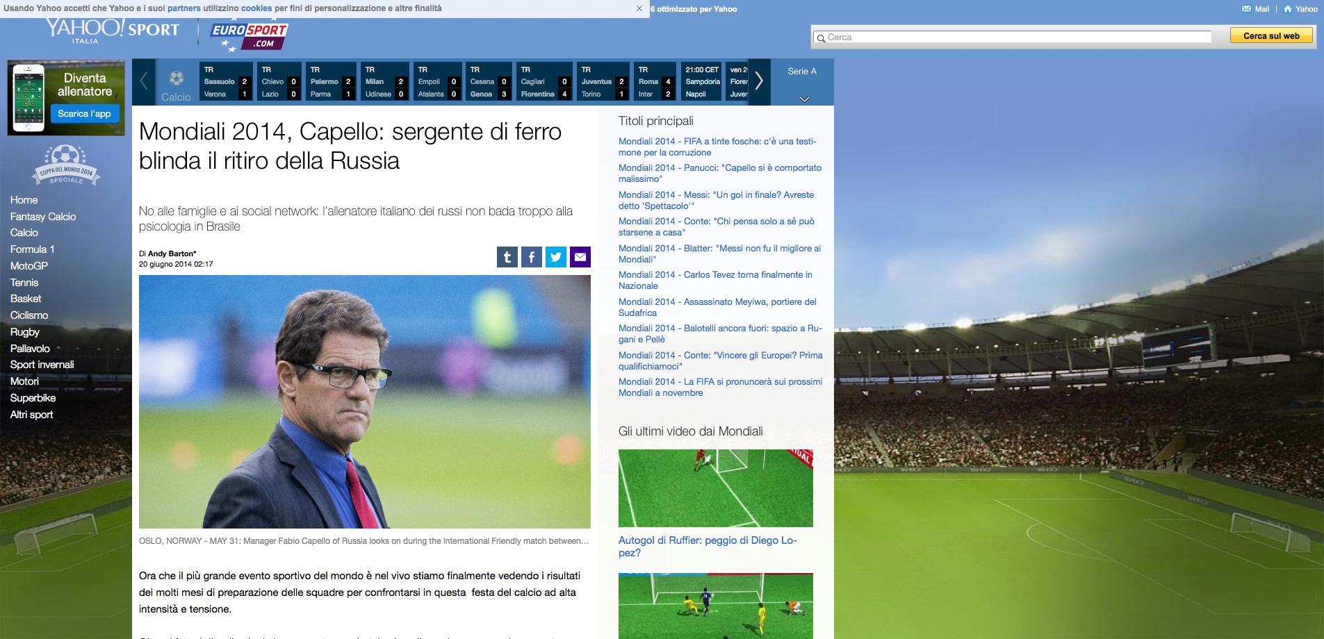 Mondiali 2014, Capello: sergente di ferro blinda il ritiro della Russia' su Yahoo Eurosport IT