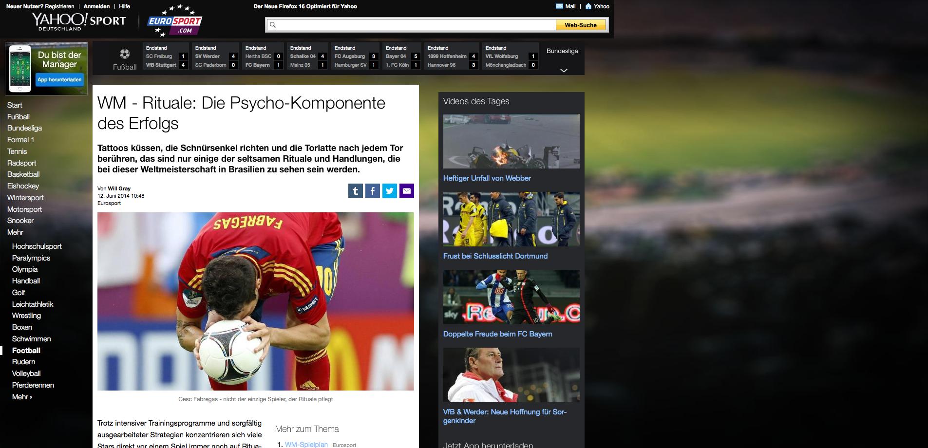 Rituale: Die Psycho-Komponente des Erfolgs' auf Yahoo Eurosport lesen