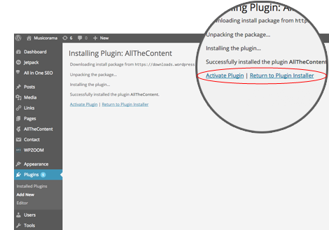 Installing WordPress plugin: AllTheContent